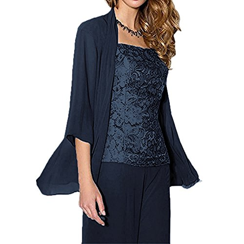 WHZZ Womens 3 Pieces Chiffon Mother of The Bride Dress with Jacket Pant Suits Navy ()