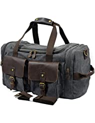 Oversize Genuine Leather Gym bags Weekend Duffel Bag Canvas Holdall Travel Tote Luggage