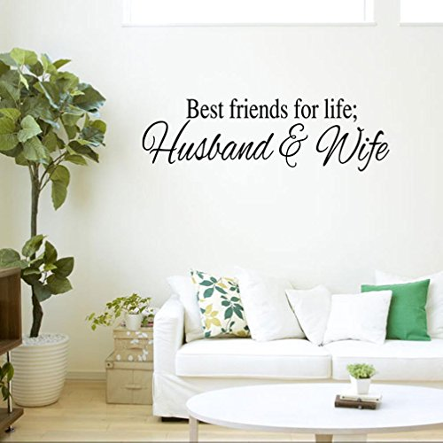 BIBITIME Saying Best Friends for Life Husband and Wife Quotes Wall Decal English Words Lettering Decor Sticker For Couple Bedroom,DIY 22.44