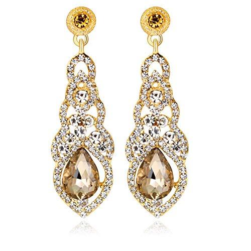 YINLI Austrian Crystal Rhinestone Bridal Wedding Dangle Earrings for Women Fashion Jewelry (Style -