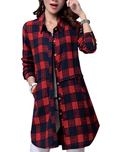 Yeokou Women's Long Sleeve Mid Long Casual Linen Boyfriend Plaid Shirts (Linen Plaid Shirt)