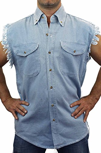 SHORE TRENDZ LIGHT DENIM Basic Plain Sleeveless Denim Biker Shirt (6X)