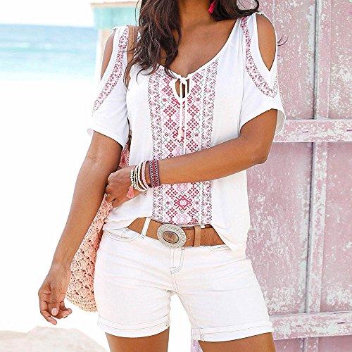 SKY Popular !!! Mujeres Imprimir sin tirantes de manga corta con cuello en V camiseta Print Short Sleeve Shirt Tops Blouse T-shirt Blanco