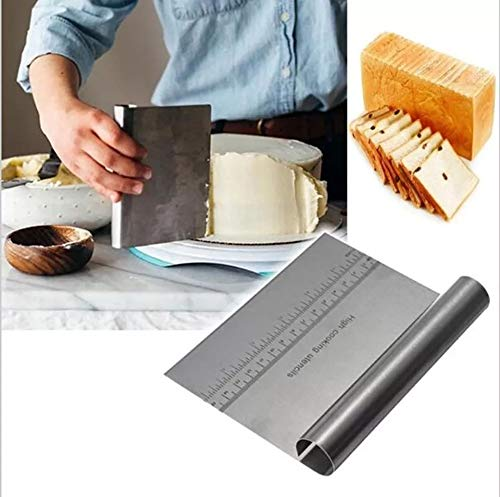 Grizzly Bench Scraper Chopper Stainless Steel Kitchen Food Scraper Icing Smoother Blade with Scale Cutting Knife. (S Steel) Price & Reviews