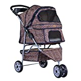 BestPet Leopard Skin 3 Wheels Pet Dog Cat Stroller w/RainCover