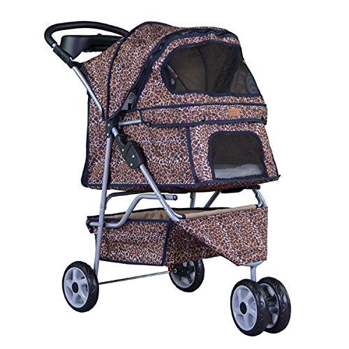 BestPet Leopard Skin 3 Wheels Pet Dog Cat Stroller w/RainCover
