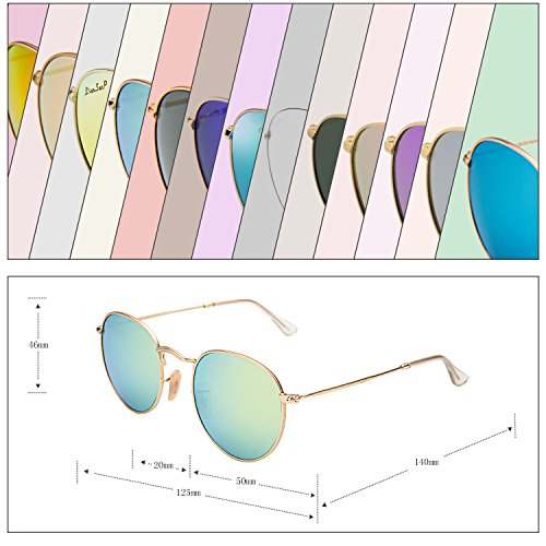 097aed85a4 LianSan Classic Metal Frame Round Circle Mirrored Sunglasses Men Women  Glasses 3447 Yellow Green Glass Lenses