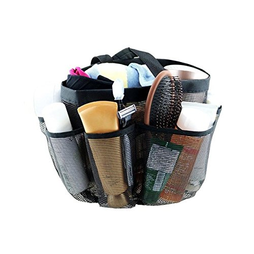 Wholesale Kayphil Mesh Shower Caddy, Quick Dry Storage Bags Hanging Mesh Bathroom Shower Organizer with 8 Pockets Portable Bath Bags (black) for cheap