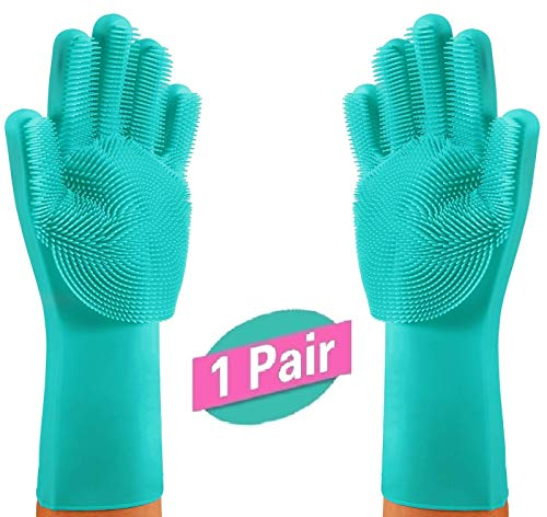 Dishwashing Gloves Kitchen Slicone Scrubber – Magic Scrubbing Gloves | Cleaning Gloves Health & Household | Bed Room Cleaner |...