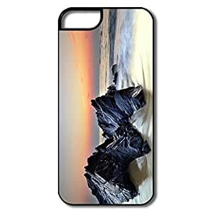 IPhone 5 5S Covers, Rocks Sea Shore Cases For IPhone 5 5S - White/black Hard Plastic