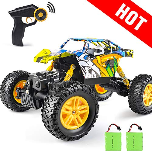 DOUBLE E RC Car Remote Control Truck Dual Motors 4WD Two Rechargeable Batteries Off Road Rock Crawler Monster 1:18 Scale Unique Graffiti
