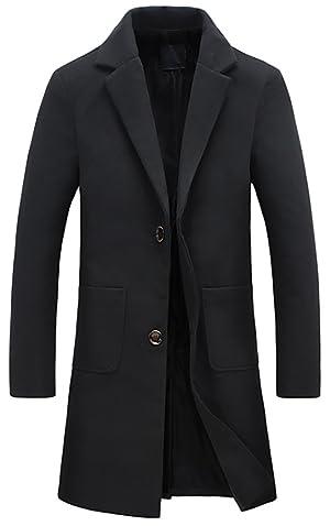QZUnique Men's Fashion Slim Fit Lapel Collar Casual Warm Wool Coat US L