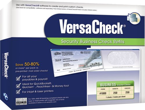 VersaCheck Security Business Check Refills: Form #1000 Business Voucher - Blue - Classic - 250 Sheets