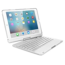 iPad Air Keyboard Cover,JiiJian 360 Degrees Rotating 7 Color Backlit Keyboard Cover Case with Wireless Bluetooth Stand Smart Flip Keyboard Case for 9.7 inch Tablet iPad Air-Silver