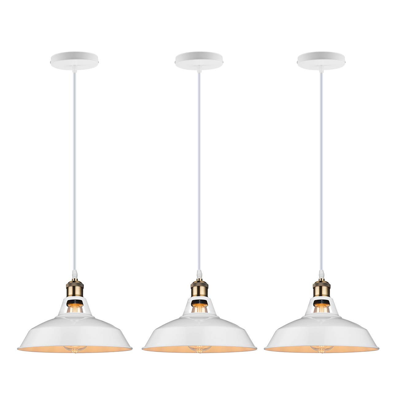 Galygg retro industrial pendant lighting white metal shade ceiling hanging light fixtures 10 63 in diameter included 4w e26 edison bulb