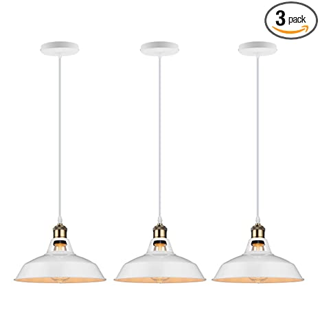 Galygg Retro Industrial Pendant Lighting White Metal Shade Ceiling Hanging Light Fixtures 10 63 In Diameter Included Led Edison Bulb For Kitchen
