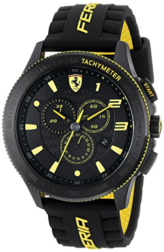Ferrari Mens 0830139  Scuderia Xx  Stainless Steel Watch With Black Silicone Strap