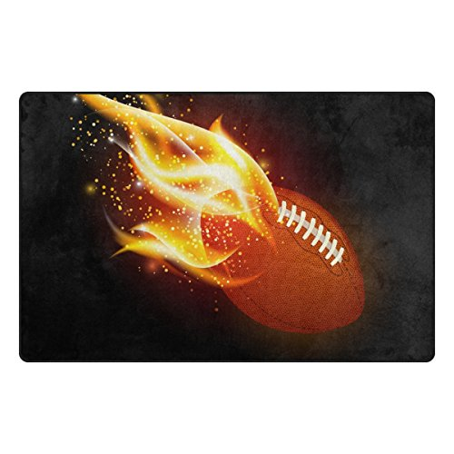 U LIFE Vintage Sports American Football Soccer Fire Flames Large Doormats Area Rug Runner Floor Mat Carpet for Entrance Way Living Room Bedroom Kitchen Office 63 x 48 Inch by ALAZA