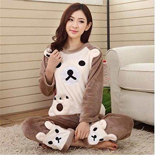 MH-RITA 2017 Autumn Winter Women Pajamas Set Sleep Jacket Pant Sleepwear  Warm Nightgown Female 6fdd85a41