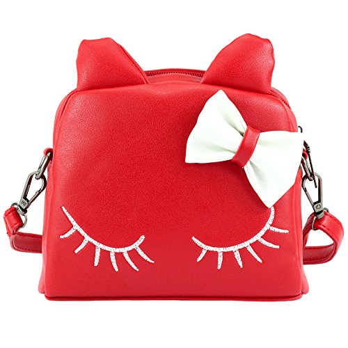 Red Fabulous Formal Evening Dress - CMK Trendy Kids Cute Little Girls Cat Purse for Toddler Kids Mini Backpack Bags with Bows (82003_Red)