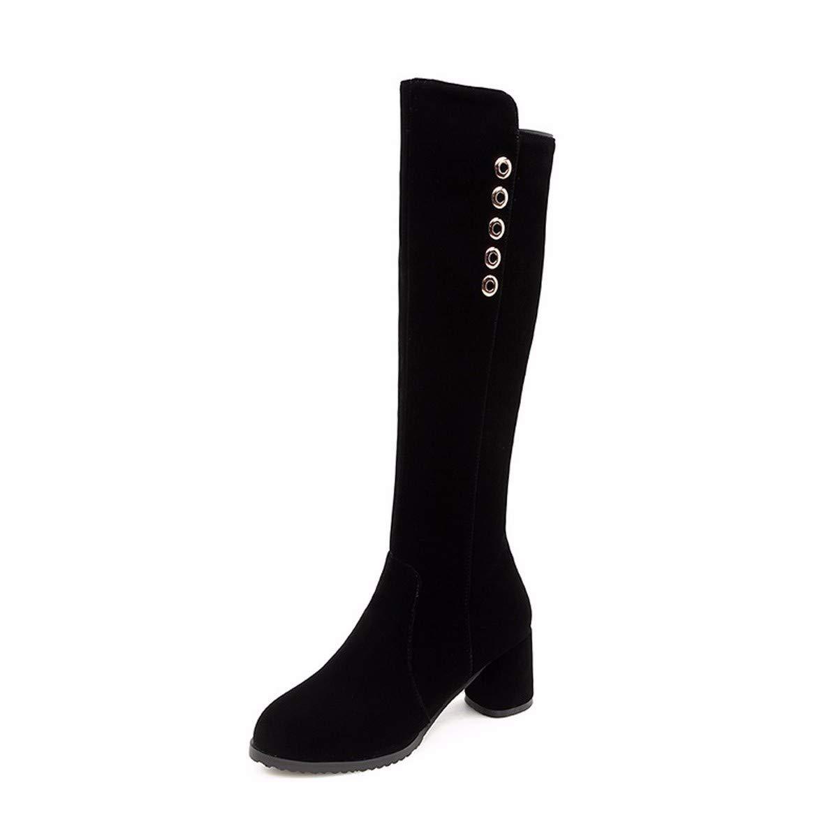 KPHY Damenschuhe Dünn Das Aber Das Dünn Knie Stiefel Heel 6 cm Dicke Sohle Hohe Stiefel Dicken Hintern Hohe Stiefel b8e1a8