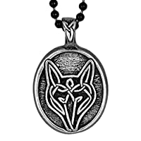 Pewter Celtic Wolf Necklace Pendant - 'Live bold, Trust your instincts' by Celtic Knot Works