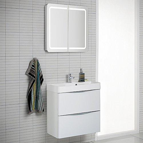 Design Badezimmer Set Hoghlanz weiß Spiegelschrank Waschplatz ...