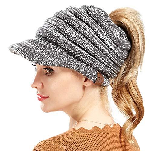 Womens Beanie Tail Hat Ribbed Knit Winter Messy High Bun Hat Ponytail Visor Beanie Cap