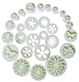 rose leaf cookie cutter - 10 Sets (33 Pcs) Plunger Cutters Sugarcraft Cake Decorating (Heart, Veined Butterfly, Star, Daisy, Veined Rose Leaf,Carnation, Blossom, Flower, Sunflower, Other)