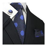 Landisun SILK Various Solids Mens SILK Tie Set: Necktie+Hanky+Cufflinks