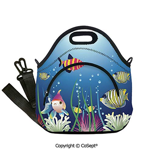 Neoprene Lunch Tote Bag Washable Lunchbox Bag,Aquarium Seascape with Colorful Tropical Fishes Bubbles Seaweed Marine Theme Decorative,with Zipper Pocket and Adjustable Detachable Strap(12.59x6.29x12.5