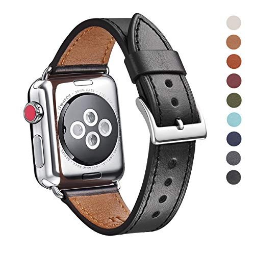 WFEAGL Compatible iWatch Band 42mm 44mm, Top Grain Leather Band Replacement Strap for iWatch Series 4,Series 3,Series 2,Series 1,Sport, Edition (Black Band+Silver Square Buckle, 42mm 44mm)