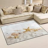 WOZO Starfish Seashells Sea Beach Area Rug Rugs Non-Slip Floor Mat Doormats Living Room Bedroom 60 x 39 inches