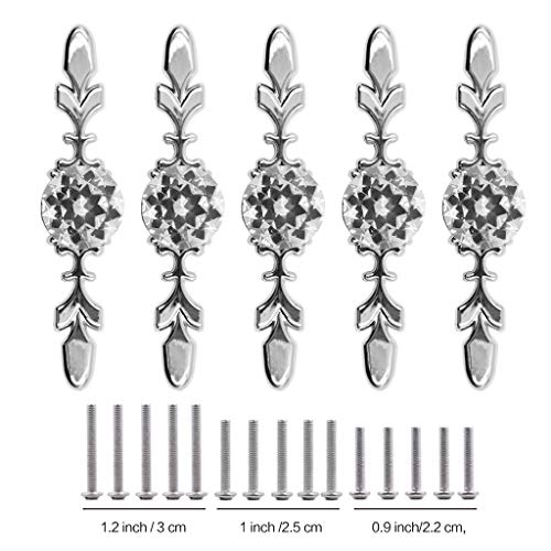 Fvstar 10pcs Cabinet Handles Crystal Glass Drawer Pull Diamond Dresser Knobs with Plate and Screws,Cupboard Wardrobe Handles for Living Room Kitchen Bedroom by Fvstar (Image #3)