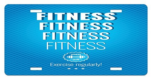 zaeshe3536658 Fitness License Plate, Motivation Regular Exercise Theme Fitness Words Checkered Backdrop Typography, High Gloss Aluminum Novelty Plate, 6 X 12 Inches. by zaeshe3536658