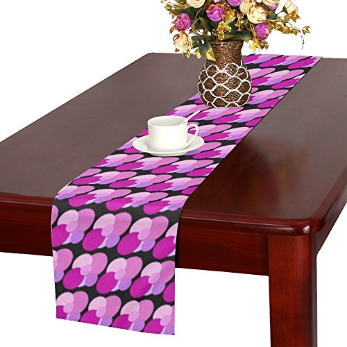 QYUESHANG Spots Pinks Purples Patterns Round Circles Table Runner, Kitchen Dining Table Runner 16 X 72 Inch For Dinner Parties, Events, - Free Patterns Hardanger