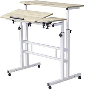 Mobile Standing Desk Height Adjustable Computer Desk Rolling Laptop Cart On Wheels Home Office Desk Laptop Writing Table White