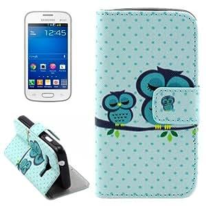 Leather Funda Owls Pattern Case Cover con Holder & & bolsillos internos para Samsung Galaxy G313H Wallet