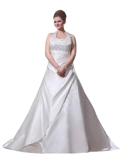 Ebelz Vestido de novia de raso madre de la novia con cuentas