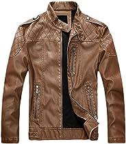 chouyatou Men's Vintage Stand Collar Pu Leather Ja