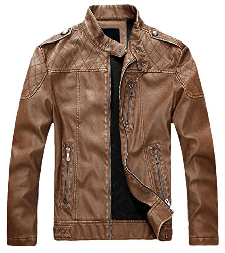chouyatou Men's Vintage Stand Collar Pu Leather Jacket (X-Large, HZQM109-Brown)