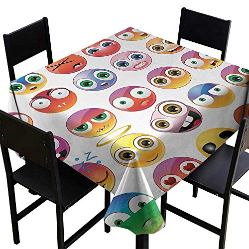 Warm Family Emoji Washable Table Cloth Rainbow Colored Cartoon Like Smiley Face Expressions Sad Happy Angry Fierce Art Print Waterproof/Oil-Proof/Spill-Proof Tabletop Protector W36 x L36