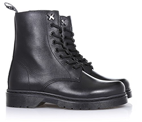 metal Child zipper and leather of lateral Girls CULT lace made visible applications rubber Girl decorative stitching Black up Black boot with sole UFPAz