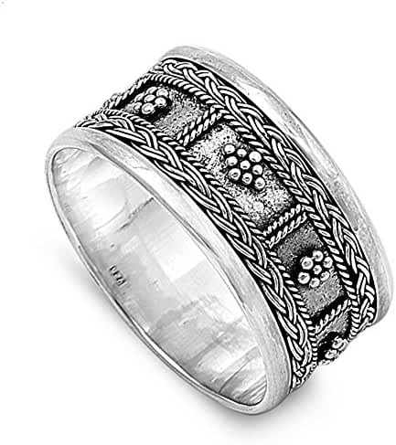 12MM 925 STERLING SILVER HANDMADE VINTAGE BALI BOHEMIAN INDONESIA RING SIZE 6-12