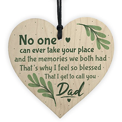 XLD Store Dad Graveside Memorial Remembrance Wooden Heart Grave Plaque Cemetery Garden Sign