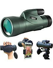 Gosky 12x55 High Definition Monocular Telescope and Quick Smartphone Holder - 2020 Upgraded Waterproof Monocular -BAK4 Prism for Wildlife Bird Watching Hunting Camping Travelling Wildlife Secenery