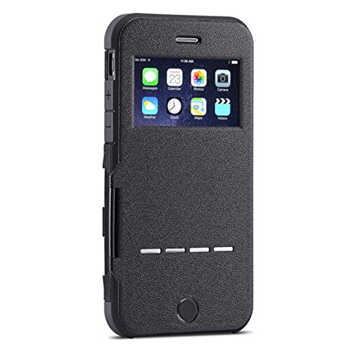 iPhone 5 Case, iThrough Intelligent Answering&Unnecessary-Flip Prevention Super Durable Protection Flip Cover Case for iPhone 5 Case (Black-)