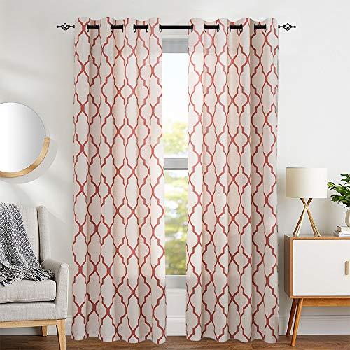"Moroccan Tile Print Curtains for Living Room Quatrefoil Flax Linen Blend Textured Geometry Lattice Grommet Window Treatment Set for Bedroom 50"" W x 95"" L 2 Panels Red"