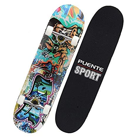 PUENTE Standard Skateboards, 31 inch Complete Skateboards 8-Ply Maple Wood,  Pro Skateboards for Kids and Adults