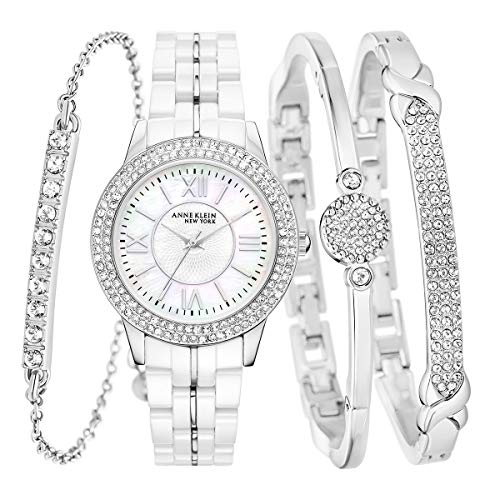 Anne Klein New York 12/2299SVST SS Ceramic White Watch & 3 Bangle Set